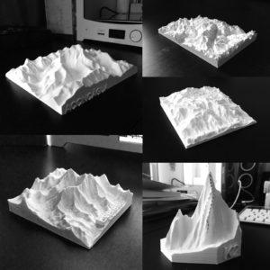 Maquetes topográficas geradas via SRTM